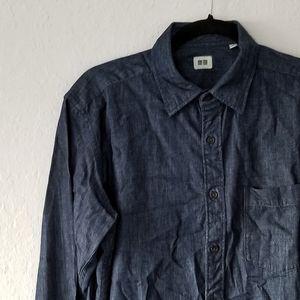 Uniqlo Dark Wash Denim Shirt Medium EUC